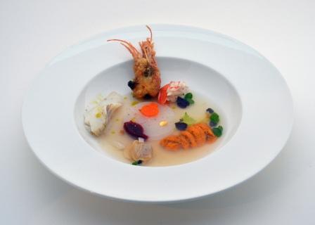 Jung Hur Bouillabaisse clam cod urchin shrimp daikon - Copy